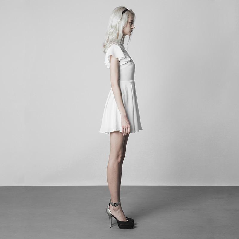 فاسق الهذيان القوطية النساء أزياء من الدانتل خياطة V طوق نبات اللوتس أنيقة الأبيض ضئيلة النسخة تجعد مقاومة الشيفون اللباس-في فساتين من ملابس نسائية على  مجموعة 3