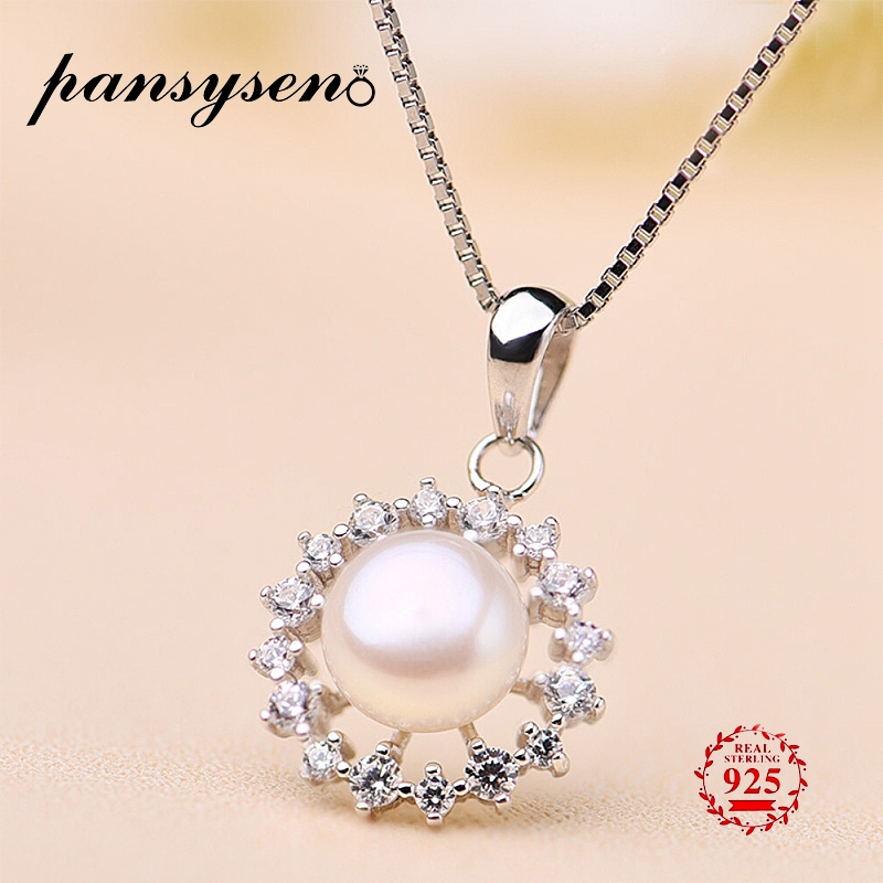 New Elegant 925 Sterling Silver Natural Freshwater Pearl Necklace With Diamond Stones Women's Wedding Jewelry Pendant Necklaces