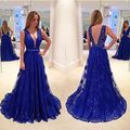 Abendkleider 2016 Royal Blue Lace V-cuello del A-Line Largo Vestidos de Noche Más El Tamaño Sin Mangas de Baile Vestido Vestido de Fiesta Robe de soirée