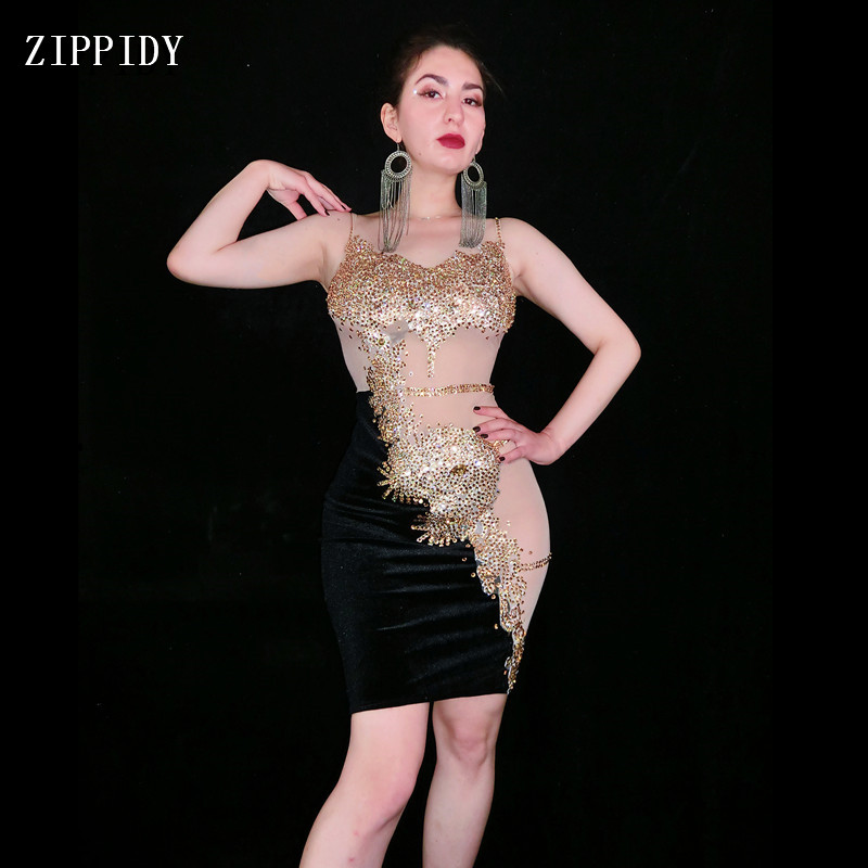 2019 Women Sexy Gold Stones Dance Black Dress Nightclub Outfit  Stage Sexy Skinny Costume Birthday Prom Show Stretch Dress