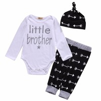 Cute Newborn Baby Boy Clothes Little Brother Romper Pants Leggings Beanie Hat 3pcs Outfits Bebek Giyim