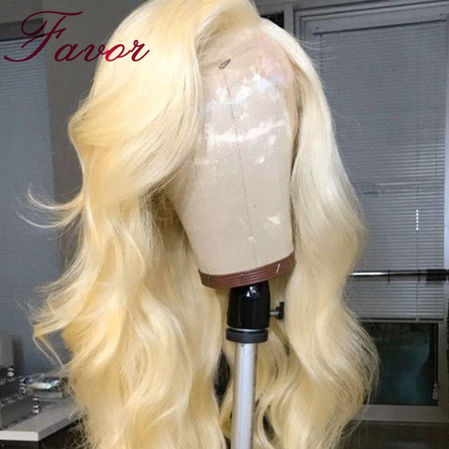 180% Densité 613 Blonde Avant De Lacet Perruque Avec Des Cheveux De Bébé Pour Les Femmes Noires Brésilienne Vague De Corps De Cheveux Humains Perruques plumé Faveur Cheveux