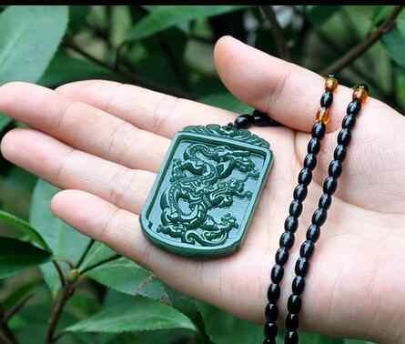 ซินเจียงHetian yulongบัตรจี้ชายราศีมังกรด้วย18อรหันต์หยกสร้อยคอ