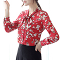 {Guoran } Floral Printed women chiffon blouses long sleeve plus size red shirts daily work wear clothing ladies casual tops