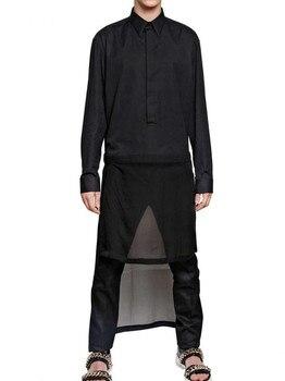 S-5XL!!! 2018  The new design men irregular length shirts Black long sleeve shirt  The singer's clothing High quality men's wear