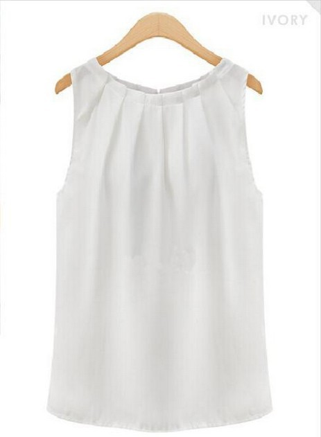 9dda0dfb88 Sexy Fold Sleeveless Chiffon Plus Size Casual White Blouse camisas  femininas Blusas 2015-in Blouses   Shirts from Women s Clothing on  Aliexpress.com ...
