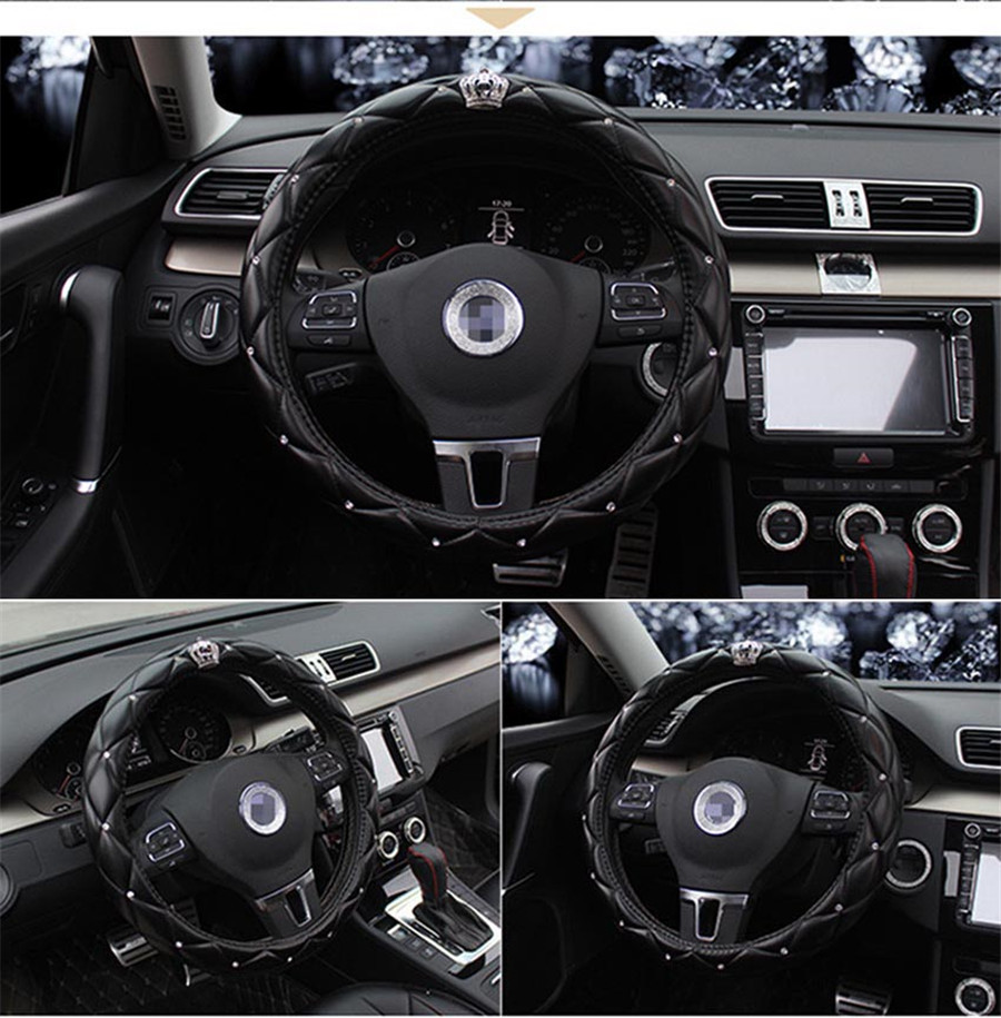 38CM Rhinestone Crystal Crown Styling PU Leather Black Car Steering Wheel Cover Black Color in Seat Belts Padding from Automobiles Motorcycles