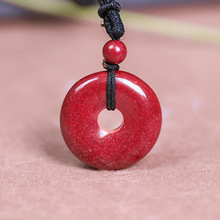 Drop Shipping Natural Cinnabar Safety Button Pendant Necklace Lucky Amulet Jade PingAnKou Necklace For Woman Men Fine Jewelry drop shipping natural cinnabar pendant lucky amulet jade safety button brave troops necklace for woman men fine jewelry gifts