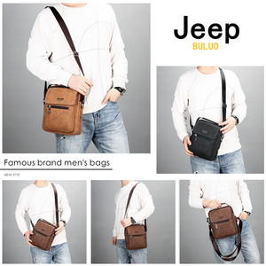 Image 2 - JEEP BULUO Brand Man Handbag Hot Sale Men Messenger Shoulder Bags Frosted Leather Totes Classic Brown Crossbody Bag New Style