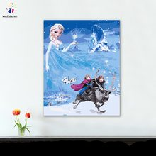 DIY colorings pictures by numbers with colors Frozen Aisha and Kristoff picture drawing painting by numbers framed Home(China)