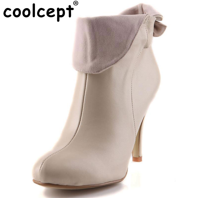 CooLcept Free shipping half ankle short natrual genuine leather high heel boots women snow warm boot shoes R1739 EUR size 34-40 women real natrual genuine leather high heel boots half short feminina botas winter boot footwear shoes r7249 size 34 39