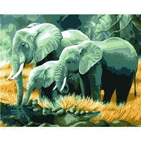 Diy Oil Painting By Numbers Elephant African Wall Art Quadro Decorative Canvas Wall Painting Calligraphy Brush