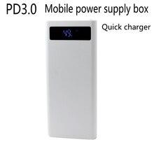 PD3.0 carga rápida QC3.0 fuente de alimentación móvil Sección 8 Suite 18650 Caja De Alimentación carga de bricolaje MICRO TYPE E apple sin batería