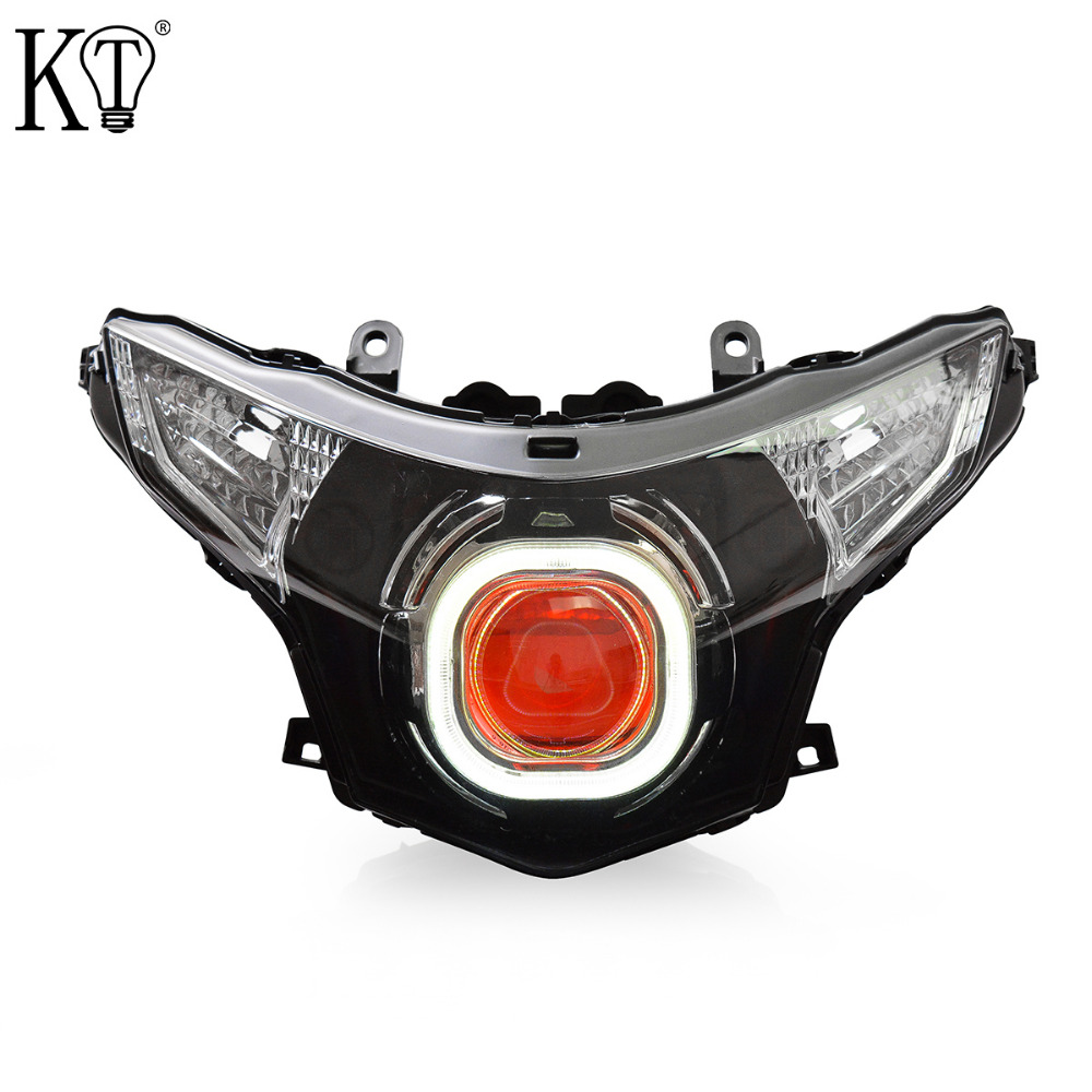 Kt Headlight For Honda Cbr250R 2011 2016 Led Angel Eye Red-3378