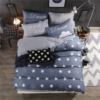 Blue Bedding Set 3 4pcs For Queen Twin Size Sports Brand 100 Cotton Cartoon Kids Duvet