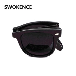 SWOKENCE Classic Design Colorful Mirror Folding Sunglasses & Case Women Men Foldable Portable UV400 Open Air Eyeglasses SA14