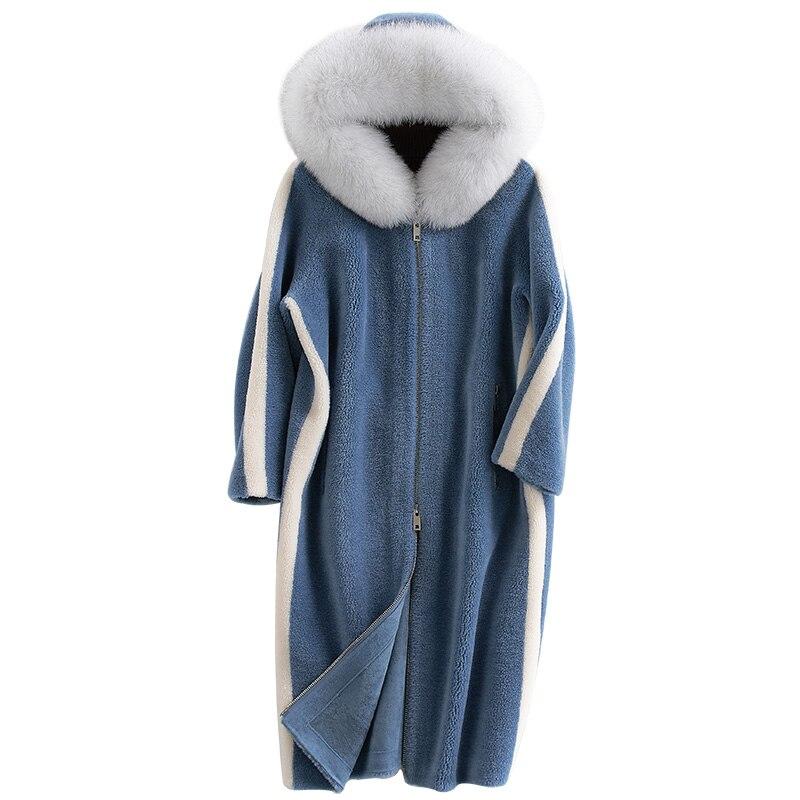 Mujer Manteau camel 100 Renard Zl767 Tonte Femmes D'hiver Abrigo Automne À Capuchon Laine Moutons De Pardessus Blue Fourrure Manteaux Réel Col Veste Des Long AqRpwSq