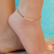 Gold Silver Color Copper Round Sequins Anklets Ankle Chian on Foot 2017 Summer Fashion Feet Jewelry Bracelet on The Leg Halhal
