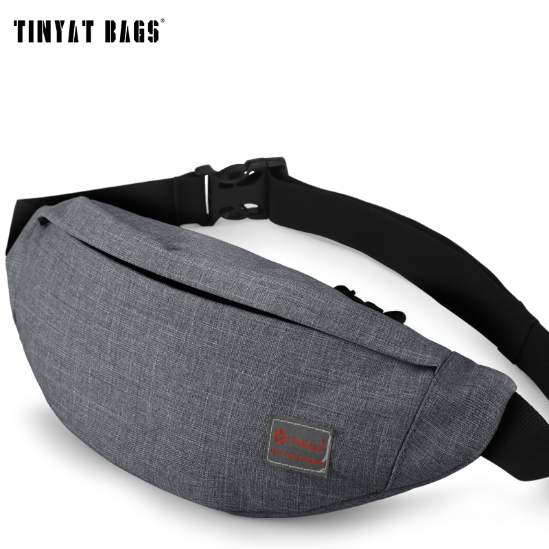 TINYAT Men Male Casual Functional Fanny Bag Waist Bag Money Phone Belt Bag Pouch T201 Gray Black Bum Hip Bag Shoulder belt pack