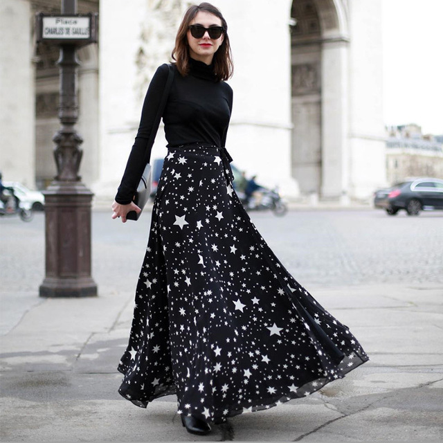 aed64ae7cd 2016 Plus Size Stars Printed Vintage High Waist Elegant Fit Flare Maxi Long  Skirts Women Ladies Office Casual Summer Long Skirt