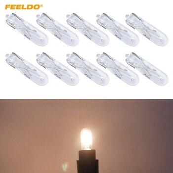 FEELDO 200Pcs Car T5 Wedge 12V 1.2W Halogen Bulb External Halogen Lamp Replacement Dashboard Bulb Light
