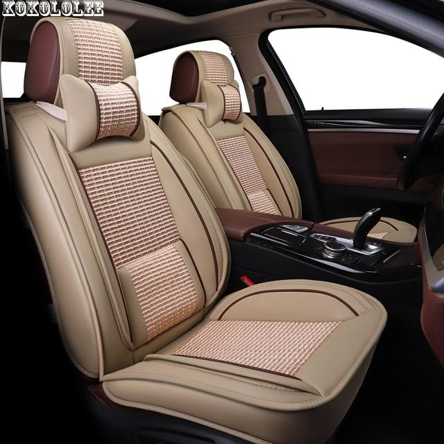 KOKOLOLEE ice silk+pu leather car seat covers For Benz A B C D E S series Vito Viano Sprinter Maybach CLA CLK auto accessories