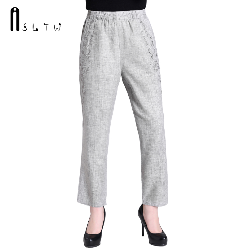 ASLTW Solid Linen Women's Pants 2017 New Summer Soft Plus Size ...