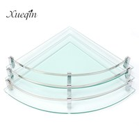 Xueqin Glass Bathroom Bath Shower Shelf Rack Organizer Holder Triangle 1 2 3 Tier Wall Mounted