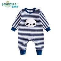 2017 Jesień Noworodka Pajacyki Dla Dzieci Chłopcy Dziewczyny Ubrania W Paski Z Długim Rękawem Kreskówki Panda Królik Bawełna Kombinezon Dla Niemowląt Ropa Niemowląt
