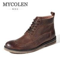 MYCOLEN из натуральной кожи Мужские ботинки осенне зимние модные сапоги обувь на шнуровке обувь Для мужчин Высококачественные мужские туфли Д
