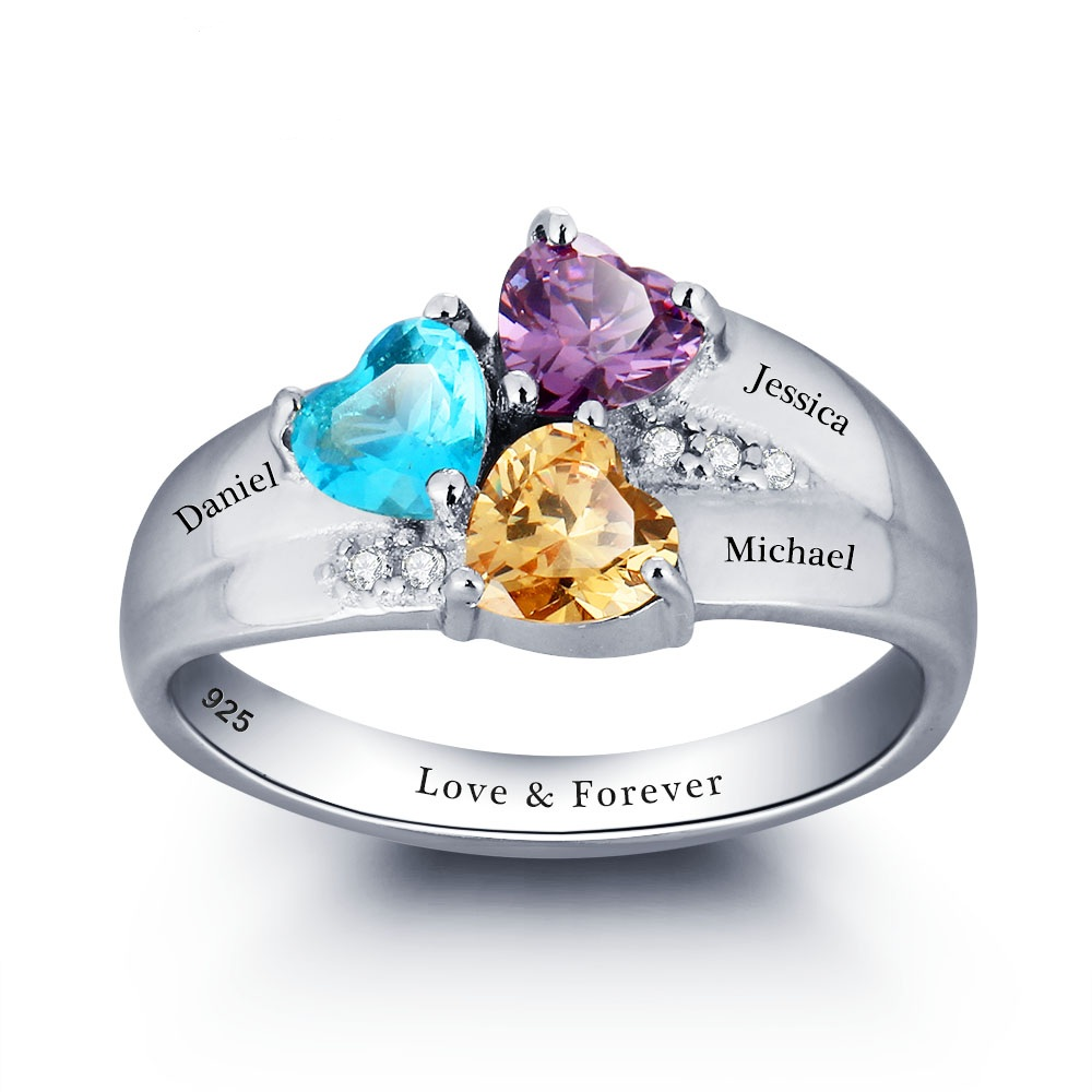 mothers rings personalized birthstone family ring 925. Black Bedroom Furniture Sets. Home Design Ideas