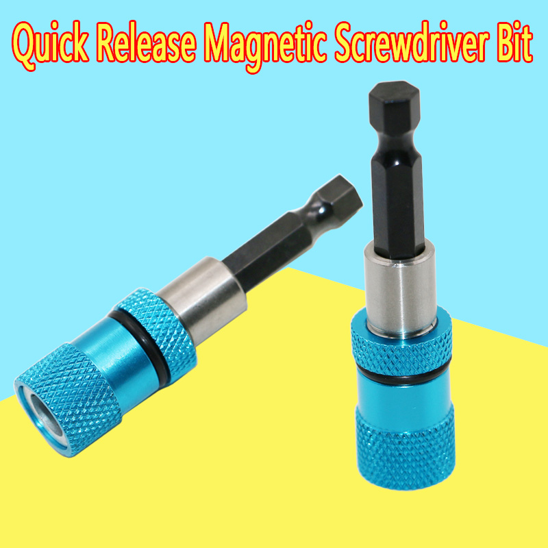 Blue 1/4 Hex Shank Electric Drill Magnetic Screwdriver Bit Holder 60mm Stainless Steel Magnetism Limit Adjustable Extension Bar