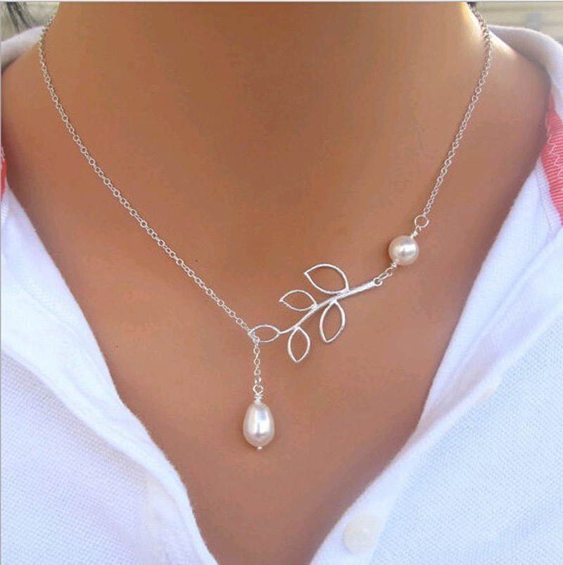 Hot Sale Luxury Leaf Imitation Pearl Necklace Circle ...