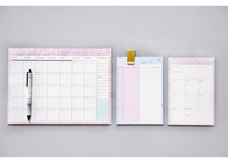diário semanal mensal planejador papelaria material escolar