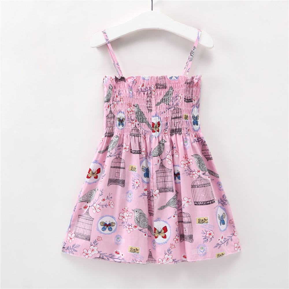 2-8Y Kids Baby Girls Dress Pink Princess Girl Dresses Summer Toddler Birthday Clothing Cartoon Butterfly Children Cotton Clothes