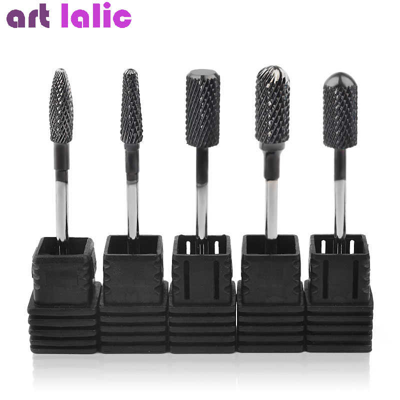 5 Type Tungsten Carbide Nail Art Drill Bits Manicure Machine Black Titanium Burr Bit For Manicure Rotary Cutter Nail Art Tools