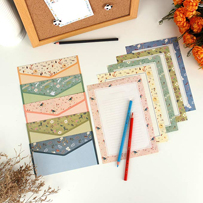 9pcs/lot Lovely Writing Stationery Paper with envelopes for invitation letter paper Envelope Seal Sticker School Office Supplies 5