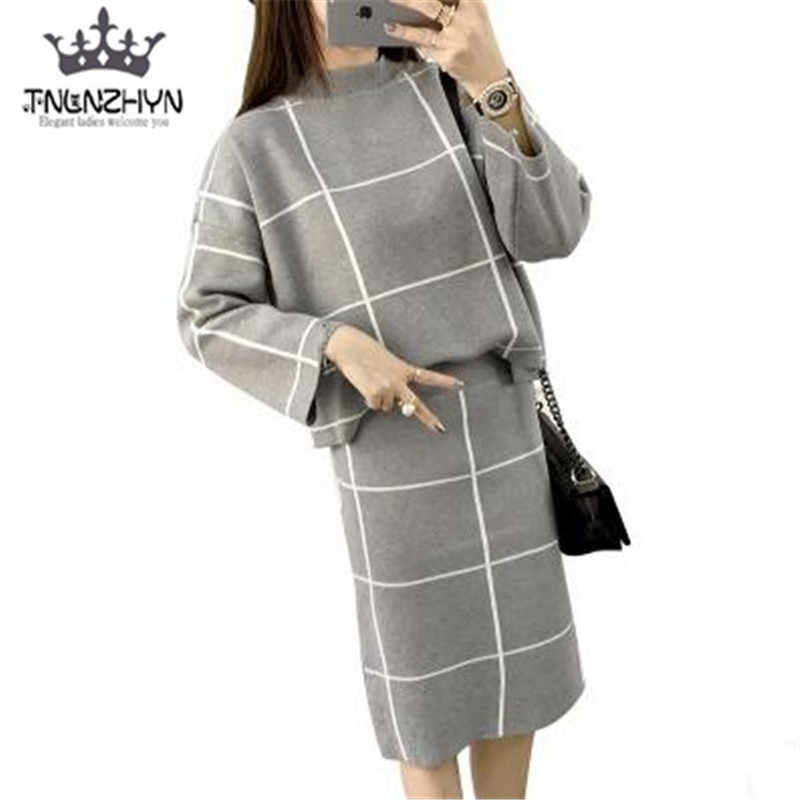 7a895a5e97cc tnlnzhyn 2018 Sping Fall Women Suit loose Casual Long sleeved Suit Plaid  Skirt Suit 2 Pieces