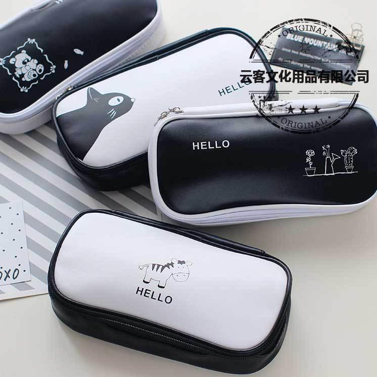 1Pcs Kawaii Pencil Case High Capacity Leather Gift Estuches School Pencil Box Pencilcase Pencil Bag School Supplies Stationery