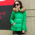 2015 Winter jackets Women short white duck down jacket fur collar hooded women's winter warm coat plus size ladies coats Q434