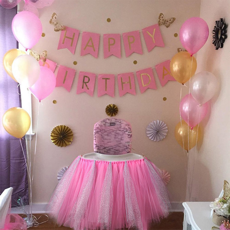 I Am One Pink And Gold Birthday Party Decorations One High: Cilected Tulle Tutu Table Skirt For Baby's First Birthday