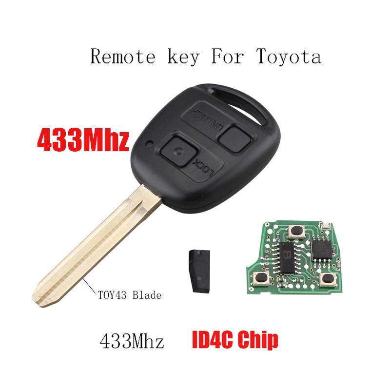 2 Buttons 433Mhz Car Remote key For Toyota RAV4 Prado Tarago Kluger Avensis 2003-2010 Transponder 4D67 Chip or 4C Chip optional