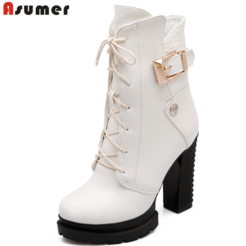 Aaumer new fashion winter autumn women ankle boots with zip and buckle platform pu soft leather round toe hot sale women shoes