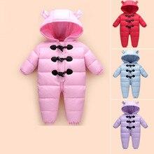 Новый 216 детская зимняя одежда вниз толстый теплый С Капюшоном детские комбинезоны новорожденный мальчики девочки ползунки дети snowsuit вниз одежда