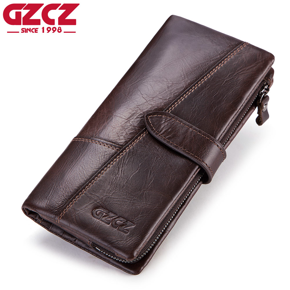 GZCZ Genuine Leather Men Wallet Fashion Coin Purse Man Walet Card Holder Portomonee Long Vallet Clamp For Money Male Clutch contact s genuine leather vintage men wallets coin purse card holder small wallet portomonee male clutch zipper clamp for money