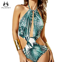 PLAVKY Sexy Leaf Print Backless Cut Out Trikini String Halter Bathing Suit Monokini Brazilian Swimwear Women