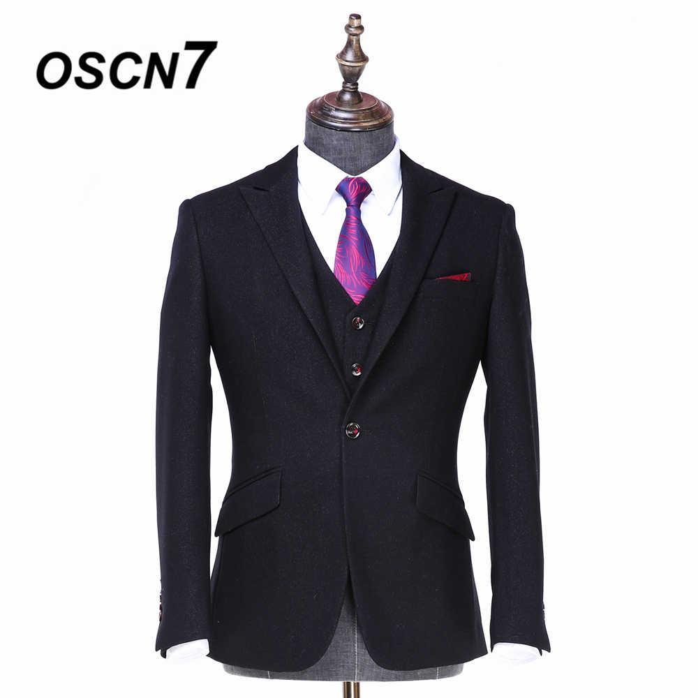 OSCN7 2019 ピークラペルカスタムメイドスーツ男性スリムフィットウェディングパーティーメンズオーダーメイドスーツファッション 3 ピーススーツ ZM-534 535 536