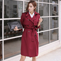 S-4XL Long sleeve wine red trench female 2016 spring latest slim coat casual double breasted nice beige pea coat ladies clothing