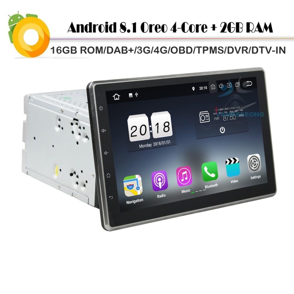 Doppel DIN Android 8.1 Autoradio GPS BT WiFi OBD2 DVR DAB USB SD Navi 4G DVB-T2