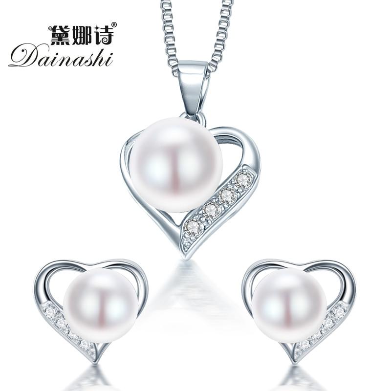ᗗDainashi Romántica Joyas de Plata Del Corazón Colgante de Collar y ...